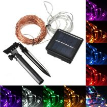 Napelemes lámpasor, fényfűzér kültéri karácsonyi világítás 200 fehér LED akkumulátor