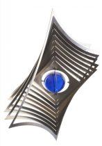 3D fém szélforgó kör rozsdamentes acélból 19x19 cm széljáték kék gyöngy betéttel