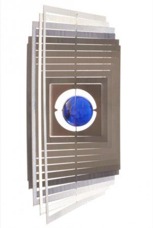 3D fém szélforgó Szögletes rozsdamentes acélból 15x15 cm széljáték gyöngy betéttel