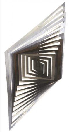 3D fém szélforgó Szögletes rozsdamentes acélból 15x15 cm széljáték