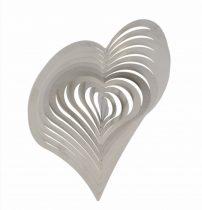 3D fém szélforgó szív rozsdamentes acélból 15x15 cm széljáték