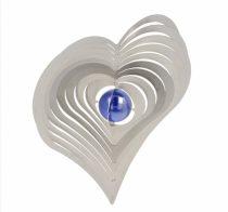 3D fém szélforgó szív rozsdamentes acélból 15x15 cm széljáték gyöngy betéttel