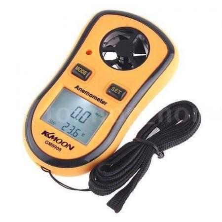 Szélsebesség mérő, szélerősség mérő anemométer beépített digitális hőmérővel