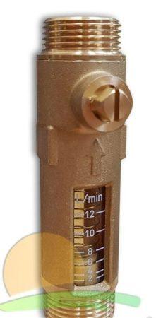 Átfolyásmérő áramlásmérő sárgaréz 2-12 l/p állítható átfolyás mennyiség mérő