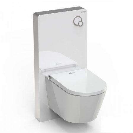 Komplett WC és bidé prémium WC tartállyal fehér színben üveg borítással luxus kivitel