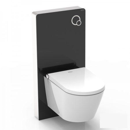Komplett WC és bidé prémium WC tartállyal fekete színben üveg borítással luxus kivitel