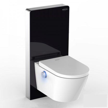 Komplett WC és bidé prémium WC tartállyal fekete színben üveg borítással érintésmentes öblítéssel