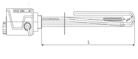 """Fűtőbetét Cordivari 230V egyfázisú 2000W fűtőpatron 1½"""" azaz 6/4"""" cekász 2kW"""