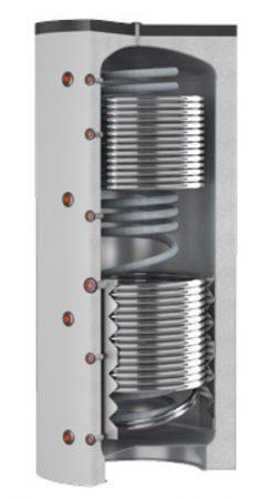 Puffer tartály 3 hőcserélős Cordivari Eco-Combi 500 liter 1 inox és 2 acél hőcserélővel