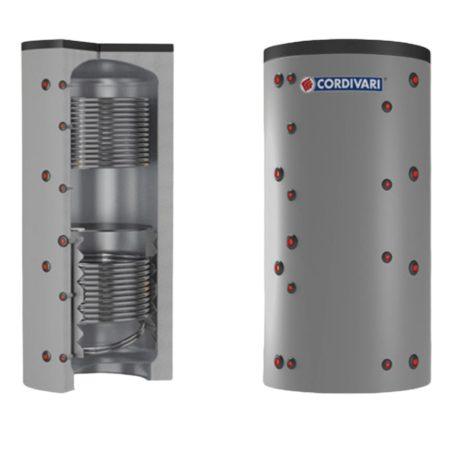 Puffer tároló - Cordivari 2VB 600 - 2 hőcserélős 600 liter - sarokba helyezhető puffertartály