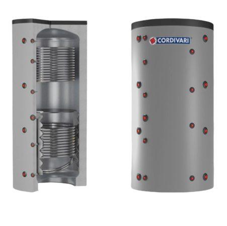 Puffer tároló - Cordivari 2VC 1500 - 2 hőcserélős 1500 liter - sarokba helyezhető puffertartály