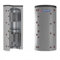Puffer tároló - Cordivari 2VC 750 - 2 hőcserélős 750 liter - sarokba helyezhető puffertartály