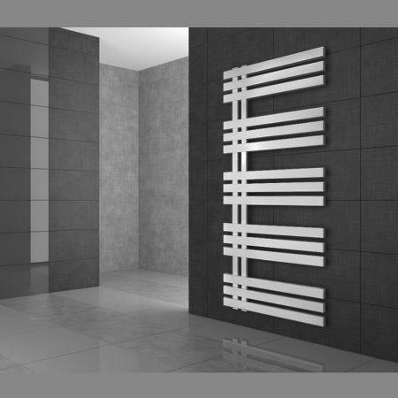 Modern design termosztátos radiátor 500x1200mm fehér színben, különleges formatervezés, stílusos meg