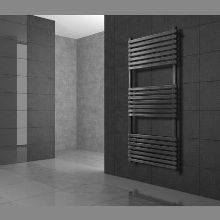 Modern designer radiátor antracit 500 x 750 mm egyenes külső csatlakozással