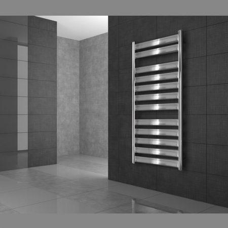 Modern design radiátor króm 500 x 950 mm egyenes külső csatlakozással
