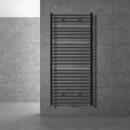 Törölközőszárító radiátor 750 x 1500 mm ívelt antracit központi csatlakozással