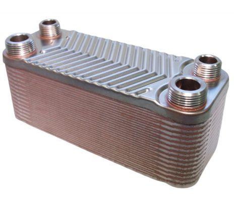 """Lemezes hőcserélő 30 lemez 66 kW 2x3/4"""" és 2x1/2"""" külső csatlakozással"""