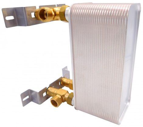 """Lemezes hőcserélő tartókonzol, kompatibilis minden 1""""-os bekötéssel rendelkező hőcserélővel"""