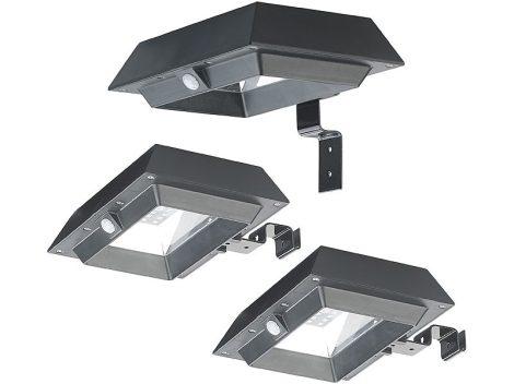 Napelemes LED fali lámpa 3 darab, PIR érzékelő, 300 lm