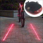 Lézer lámpa kerékpár hátsó piros biztonsági jelzőfény 3V vonaléas jelzőfény fényvető