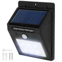 Napelemes mozgásérzékelős fali lámpa 1W 6 SMD LED beépített akkumulátorral