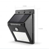 Napelemes mozgásérzékelős fali lámpa 4W 20 SMD LED beépített akkumulátorral mozgásérzékelővel