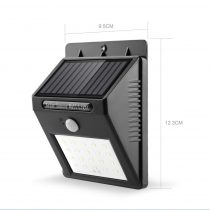 Napelemes mozgásérzékelős fali lámpa 4W 12 SMD LED beépített akkumulátorral mozgásérzékelővel