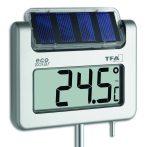 Napelemes kerti hőmérő kültéri kivitel, nagyméretű digitális kijelző