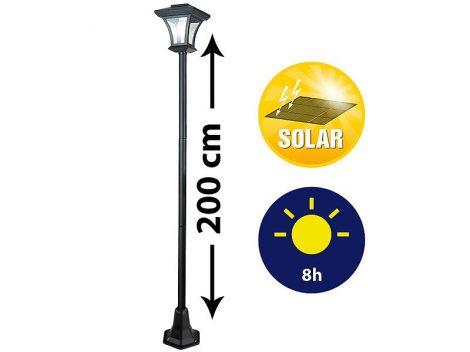 Napelemes kandeláber kerti lámpa napelemmel 200 cm 0,1W beépített akkumulátorral