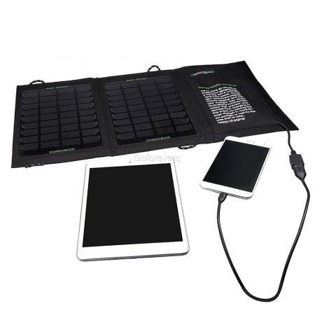 Napelemes hordozható töltő mobltöltő 7W ütésálló cseppálló állló összehajtható USB csatllakozó