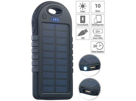 Napelemes powerbank 4000 mA akkumulátoros telefontöltő, ütés és csepp állló