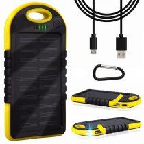 Napelemes powerbank 6000 mA akkumulátoros telefontöltő, ütés és csepp állló, beépített akkumulátorra