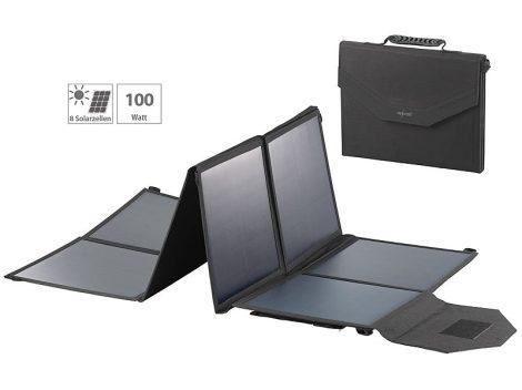 Összehajtható napelem táska 12V 100W és töltésszabályzó USB csatlakozóval monokristályos mobil