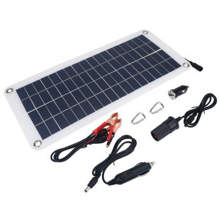 12V 10W napelemes töltő szivargyújtó csatlakozó és csipeszes kábel autó töltés lakókocsi hajó számár