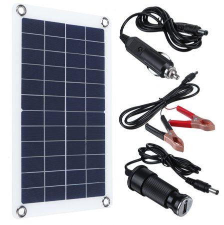 12V 30W napelemes töltő szivargyújtó csatlakozó, csipeszes kábel USB kimenettel mobil autó töltés