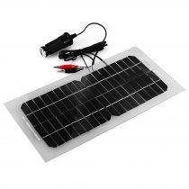 12V 5,5W napelemes autó töltő szivargyújtó kábellel és korokdil csipesszel továbbá 5V USB aljzattal