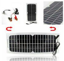 12V 10W napelem krokodil csipeszes kábellel akkumulátor töltéshez