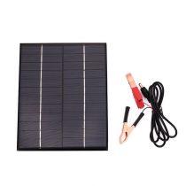 12V 5,5W napelem krokodil csipeszes kábellel akkumulátor töltéshez