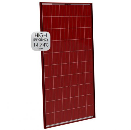 SZÍNES napelem 250W polykristályos piros szín 37V  1645 x 990 x 35 mm piros alumínium kerettel