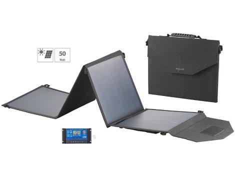 Összehajtható napelem táska 12V 50W és töltésszabályzó USB csatlakozóval monokristályos mobil