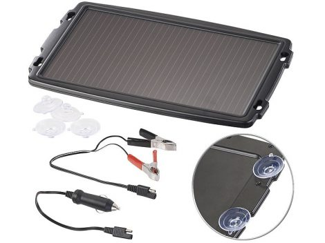 Napelemes töltő autó akkumulátorokhoz krokodilcsipesszel, 12 V, 2,4 W