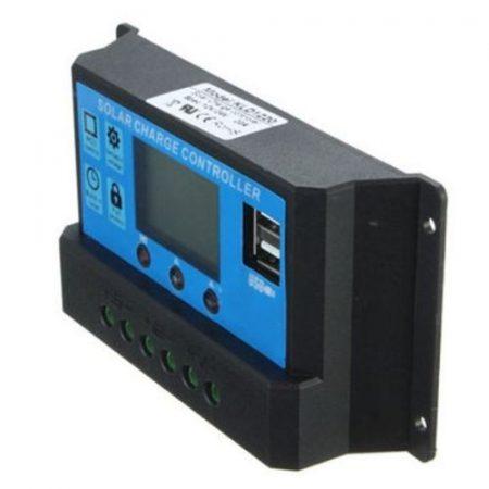 napelem töltésvezérlő 12V 24V 30A Napelem töltésszabályozó vezérlés automatata átkapcsolás LCD kijel