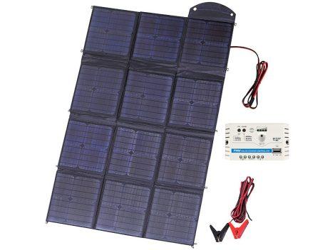 Mobil összehajtható napelem 12 monokristályos cellával, 150 watt