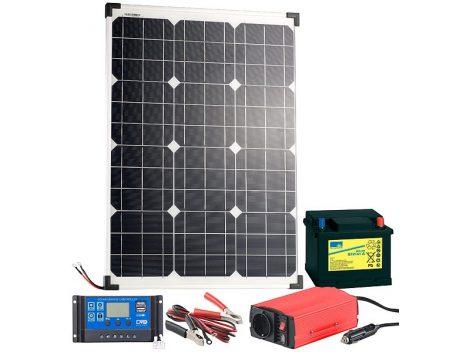 50W Napelem ólom-akkumulátorral, töltőszabályzóval és inverterrel