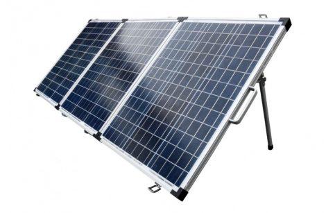Hordozható napelem kinyitható összecsukható három részes napelemes táska 12V 150W polikristály