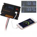 Extra tudású napelem töltésszabályzó Bemenet max 55V kimenet 12V + 5V USB aljzat, LCD kijelző