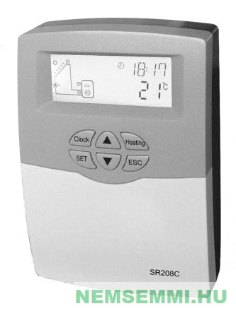 Napkollektor vezérlés SR208C szolár kontroller vezérlő szabályzó
