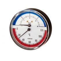 Nyomásmérő óra hőmérővel thermo-manometer 1/2