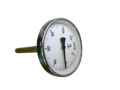 Kontakt hőmérő 100mm  -  a tartozék hüvely 1/2 zoll menetbe becsavarozható es abba is behelyezhető