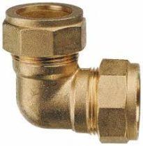 Réz kötőelem könyök csatlakozó toldóelem fitting két kollektor összekötésére 2 x 22 mm roppantós ( s